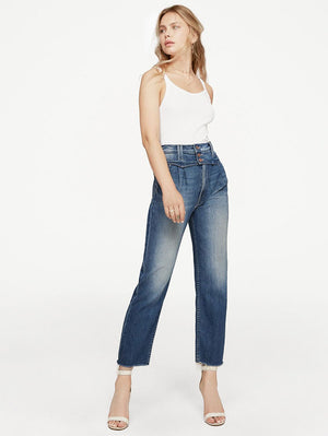 High-waisted Breasted Straight-Leg Jeans