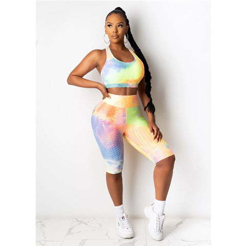 Tie Dye Racer back Textured High Waist Top & Short Set
