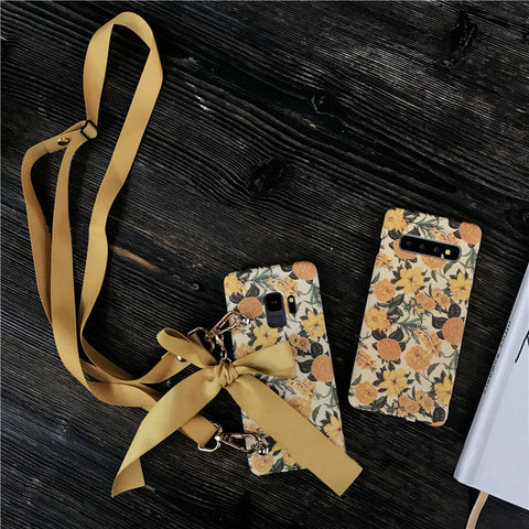 Retro Flower Print Samsung S10PLUS With Oblique Cross Rope Phone Case gallery 1