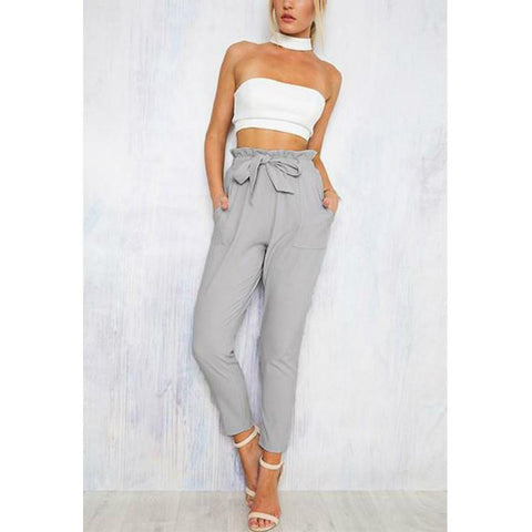 Belt Front Leisure Skinny Cropped Pants