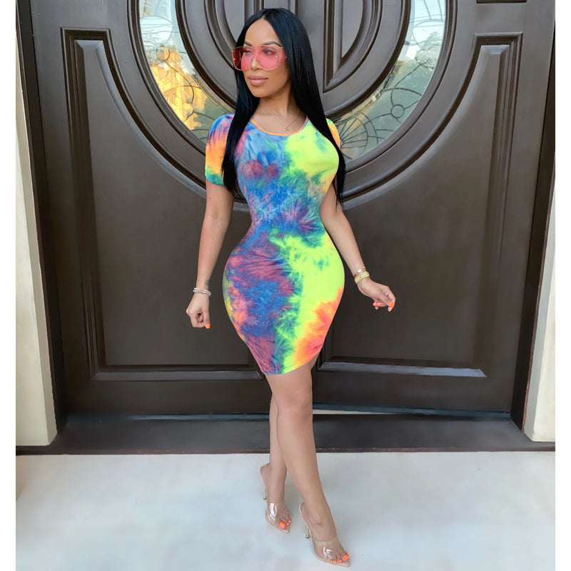 Tie Dye Short Sleeve Round Neck Mini Dress