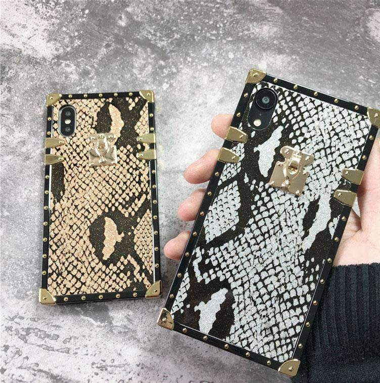 Luxury Snakeskin Square Phone Case for Samsung