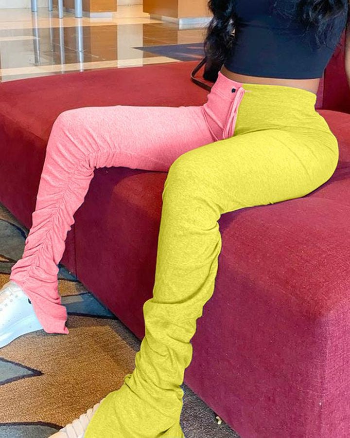 Two Tone Drawstring Front Split Hem Stacked Pants gallery 2