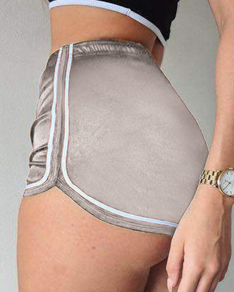 Solid Contrast Binding Elastic Waist Sports Shorts gallery 7