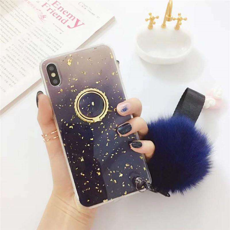 Purple Starry Night Pattern Gel iPhone Case with Phone Holder and Pom-pom