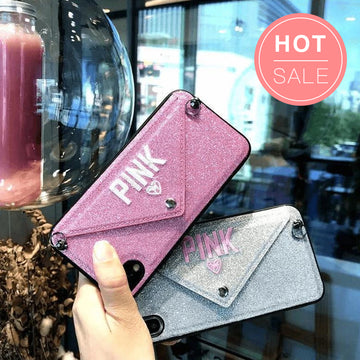 Letter Shaped Shoulder Bag Style iPhone Case With Card Holder And Chain