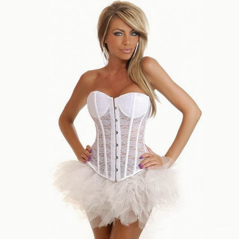 Strapless Lace-Up Back Overbust Corset