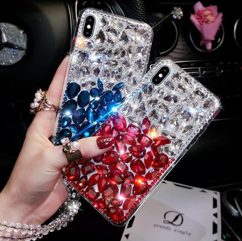 Clear Glittering Rhinestone Phone Case for Samsung with Wrist Strap gallery 1
