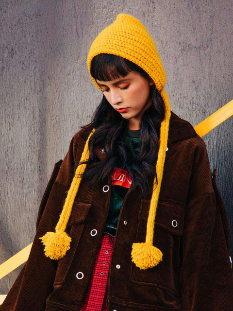 Hand-made Cute Warm Knitted Woolen Ear Hat with Long Braid gallery 2