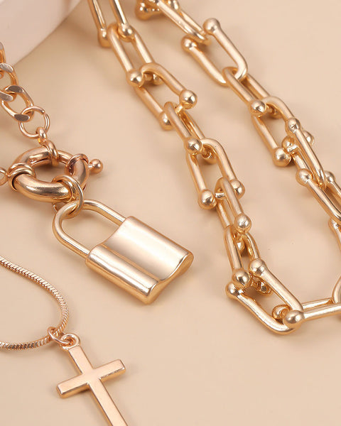 Lock & Letter Layered Chain Necklace gallery 4