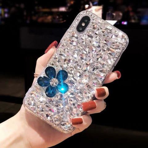 Clear Floral Full Rhinestone Cover Phone Case for Samsung gallery 1