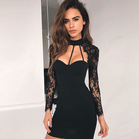 Sexy Halter Cut Front Lace-sleeve Mini Bandage Dress gallery 2