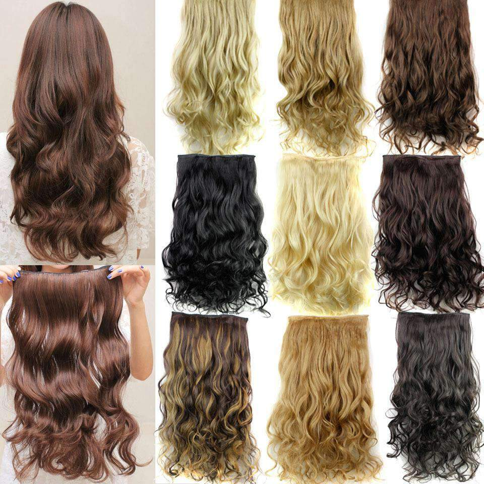 2Pcs Long Curly Hair Extensions With Clips Synthetic Wig