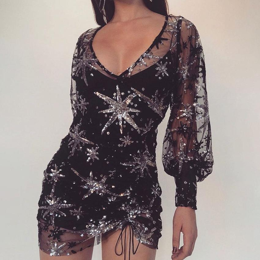 Chic Sequin Detail Mesh Lined Puff Sleeve Dress