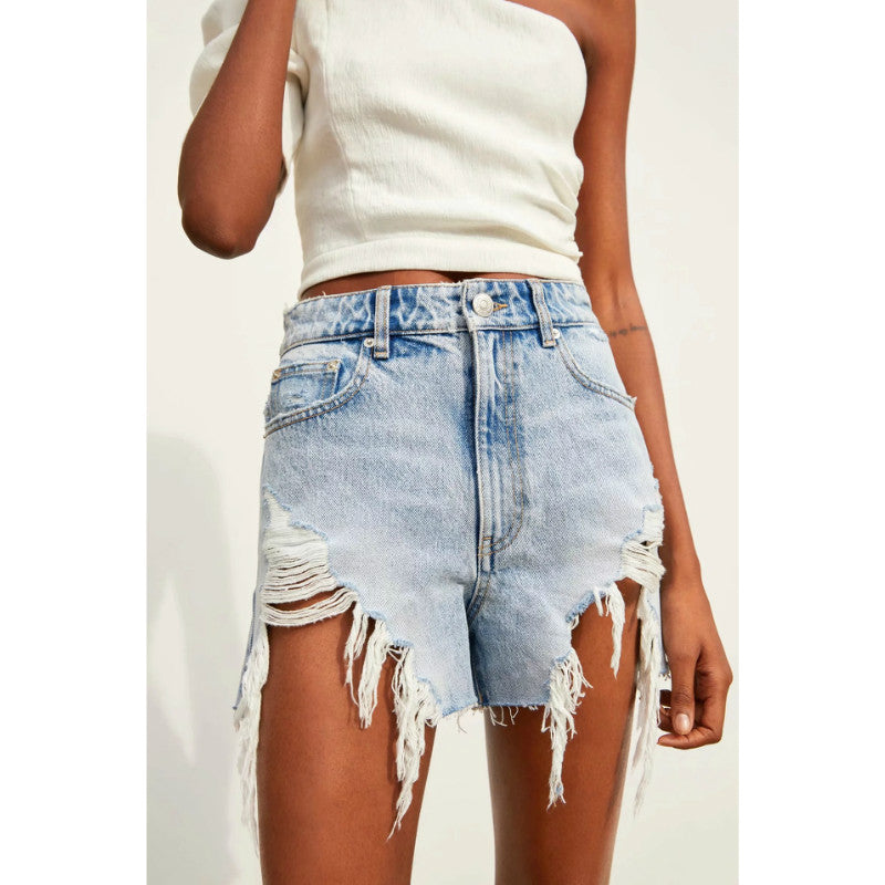 High Waist Irregular Hem Wide Ripped Shorts