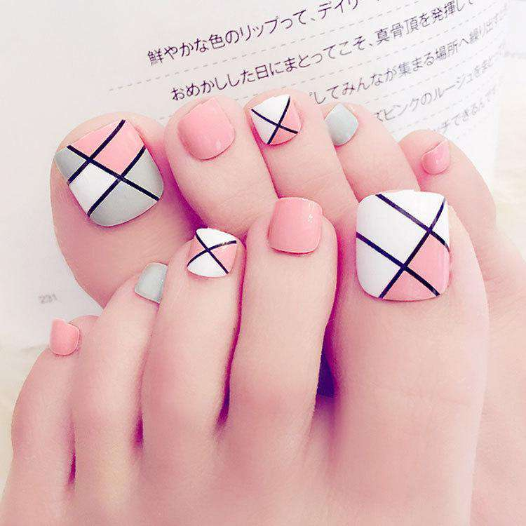Pink Grid Magic Press On Nail Pedicure