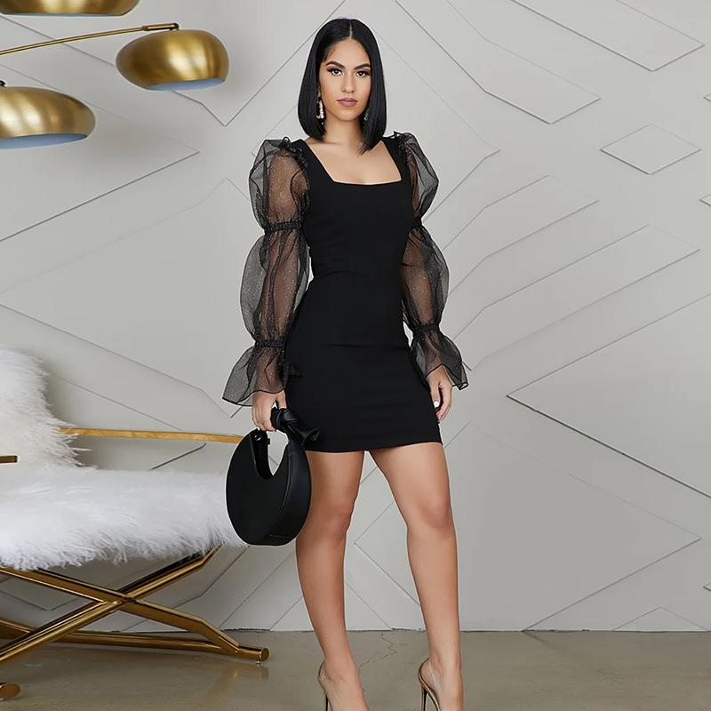 Black Square Neck Mesh Glitter Sleeve Slinky Dress
