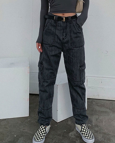 Vintage Dark Wash Straight Pockets Mom Jeans
