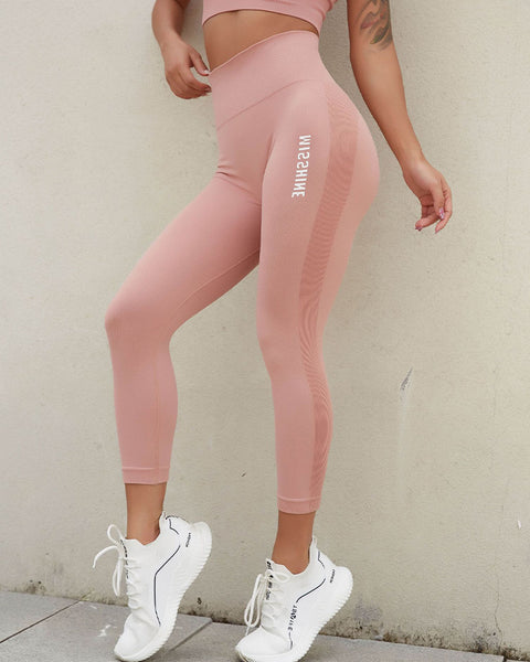 Letter Print Ribbed Wide Waistband Sports Leggings