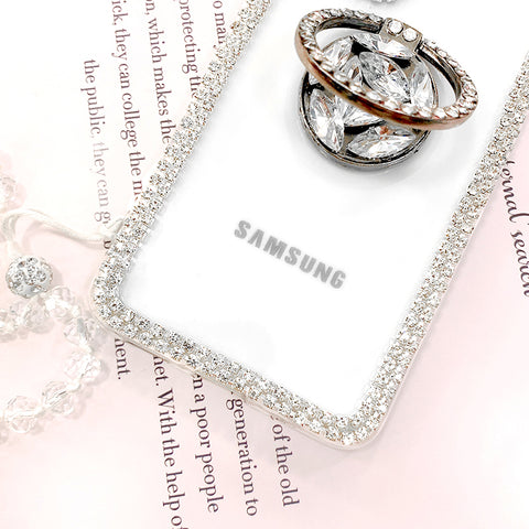 Luxury Crystal Stud Edge Phone Case for Samsung with Phone Holder and Hand Strap gallery 7