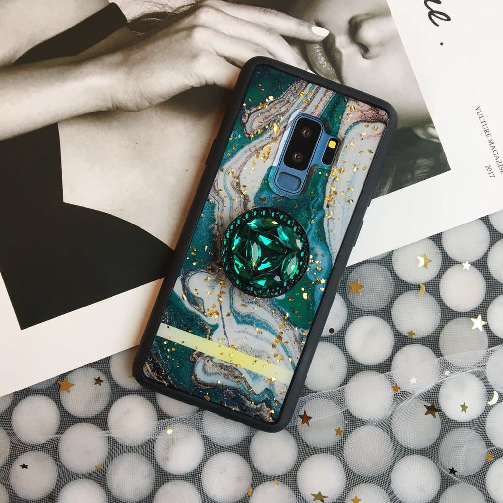 Retro Vintage Gold Foil Phone Case for Samsung with Phone Holder