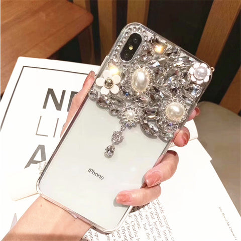Half Transparent Rhinestone Phone Case for Samsung with Hand Strap gallery 4
