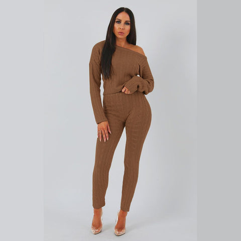 Round Neck Cable Knit Top & Pant Set