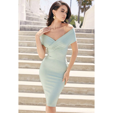 Sexy Mint Off Shoulder Bodycon Party Dress gallery 1