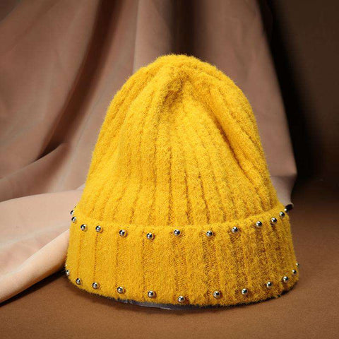 Punk Style Beaded Knit Beanie Hat gallery 6
