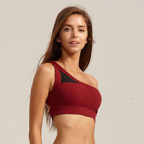 Single Shoulder Crossback Sports Bra