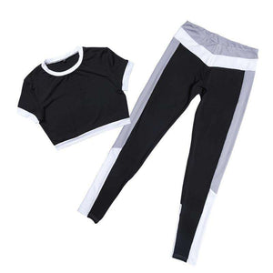 Patchwork Navel Top & Pants Leggings Yoga Set