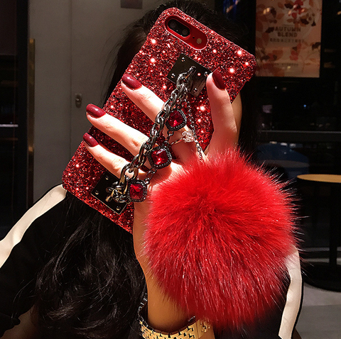 Luxury Glittering iPhone Case with Wrist Strap and Pom-pom