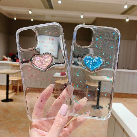 Glitter Colored Heart Pattern Little Star Detail Phone Case for Samsung gallery 14