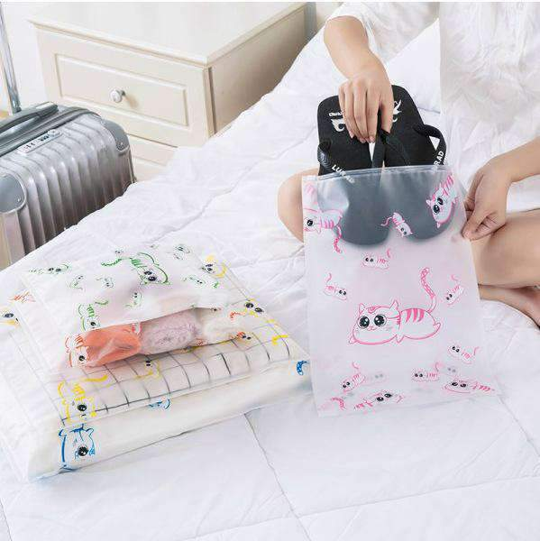 5pcs Cute Kitty Transparent Zipped Seal Bag Travel Storage Bag
