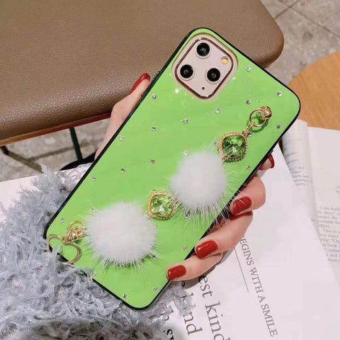 PU Leather Rhinestone Deco Phone Case for Samsung with Wrist Strap gallery 4