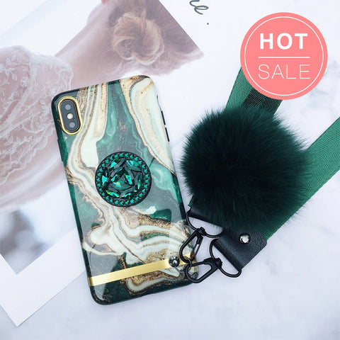 Luxury Marble Pattern Silicone Gel iPhone Case with Phone Holder and Pom-pom