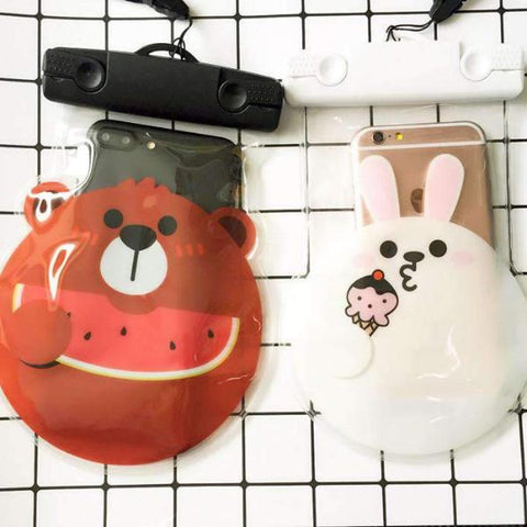 Waterproof Phone Pouch Cute Cartoon Character Round Face Shaped Waterproof Case Underwater Dry Bag