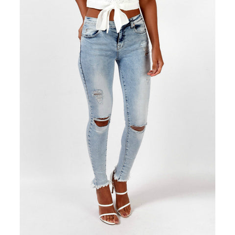 Elastic Fitted Raw Hem Well Played Jeans
