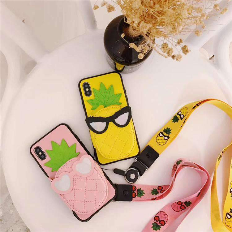 Cute Creative Pineapple Pattern Phone Case For iPhone With Card Holder And String