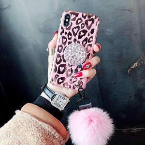 Pink Hot Gold Leopard Print iPhone Case with Phone Holder and Pom-pom