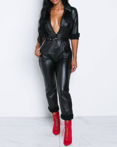 Solid PU Leather Belted Waist Zip Up Jumpsuit