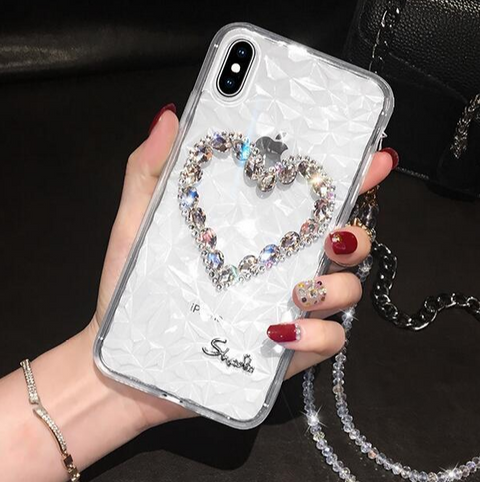 Heart Rhinestone Clear Transparent Phone Case for Samsung with Hand Strap gallery 5