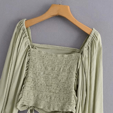 Drawstring Long Sleeve Ruched Square Collar Cropped Blouse gallery 7