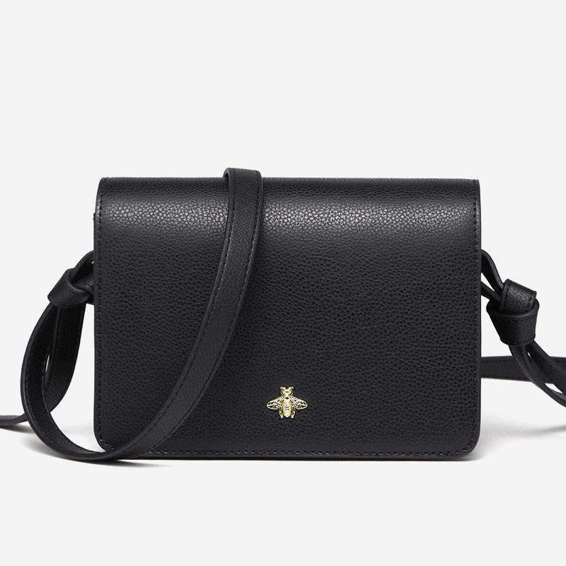 All-Match Cow Leather Black Casual Shoulder Bag With Shining Bee Shaped Buckle
