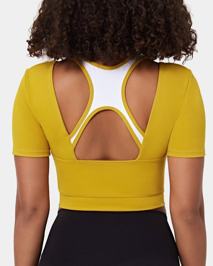 Colorblock Cut Out Bodycon Crop Sports Top gallery 2
