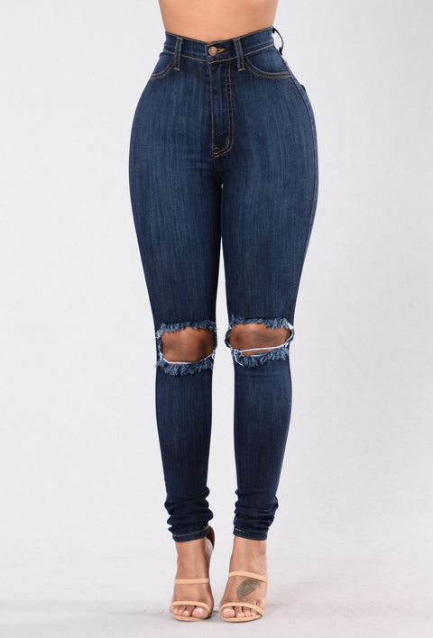 High Waist Knee Ripped Button Up Jeans gallery 4