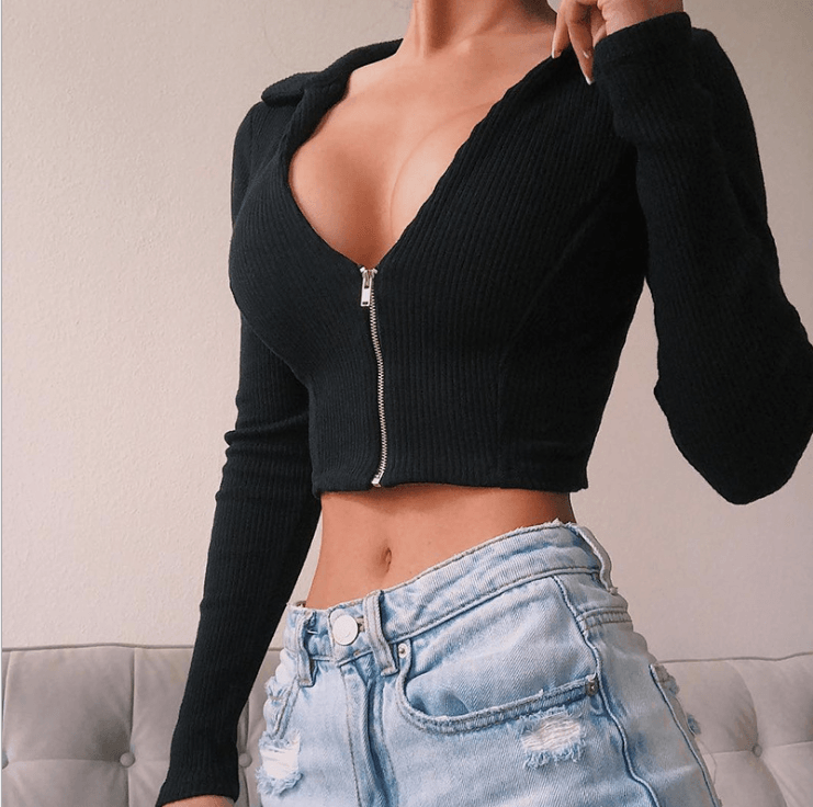 Black Deep V-Neck Zip Up Rib Cropped Fitted Knitwear