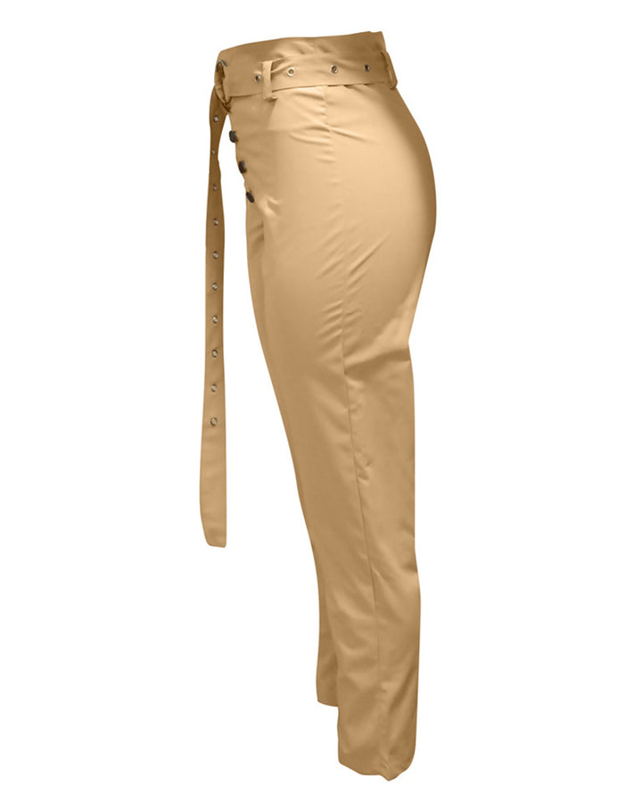 Solid Studded Button Front Pants With Belt gallery 5