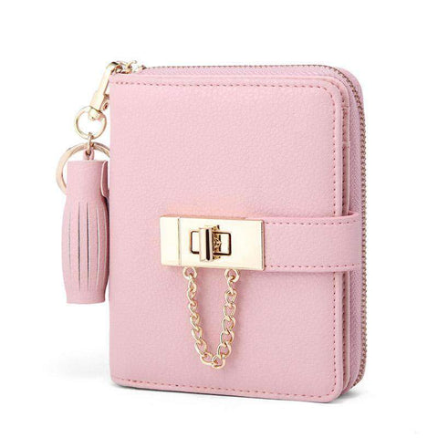 Cow Leather Cute Pink All-Match Short Sized Wallet With Chain And Tassel Element gallery 2
