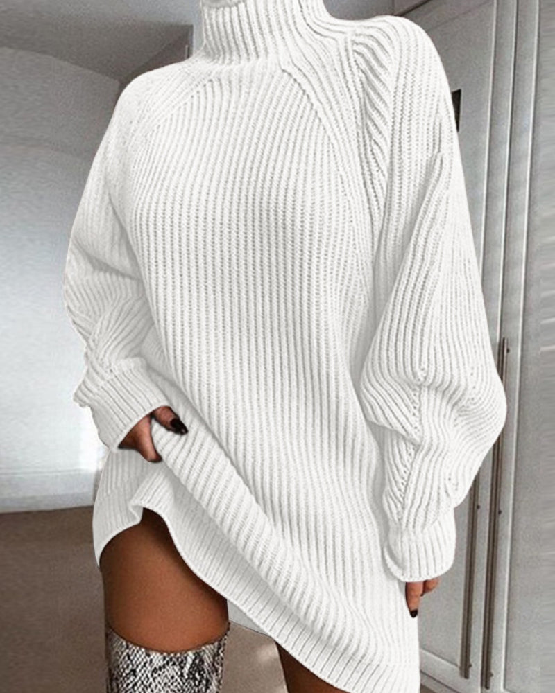 Solid Turtleneck Ribbed Knit Sweater Dress